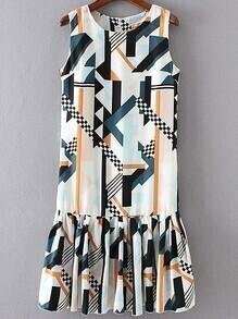 Multicolor Geometric Print Ruffle Hem Dress With Zipper