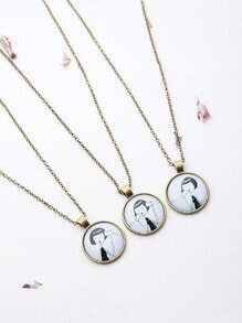 Bronze Girl Pattern Friendship Necklace Set