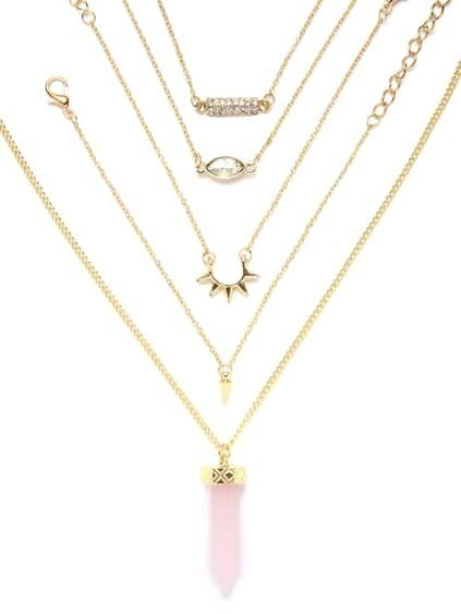 Pink Crystal Pendant Necklace With 4Pcs Bracelet