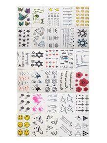 Set pegatinas de tatuaje con estampado de emoji y flor
