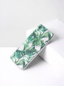 Funda para iPhone 7 transparente con estampado de hoja verde