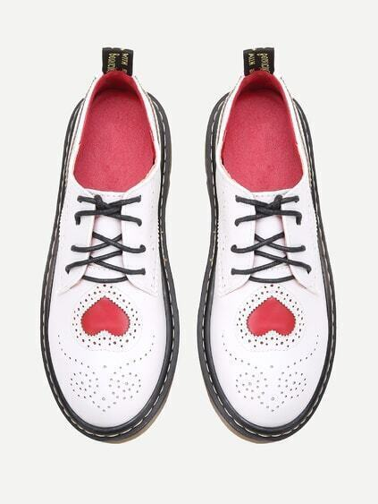 White Laser Cut Heart Pattern Lace Up Shoes