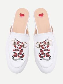 White Snake Embroidery Loafer Mules