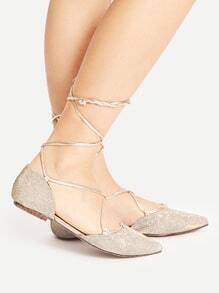 Gold Point Toe Lace Up Ballet Flats