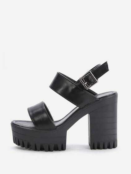 Black Platform Chunky Heeled PU Sandals