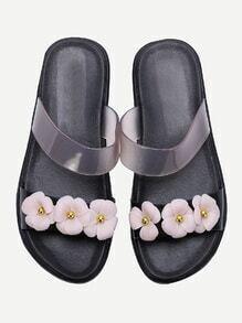 Noir, fleur, conception, glissement, sandales