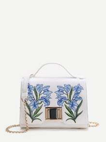 White Embroidery Detail Twist Lock Shoulder Bag