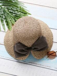 Coffee Slit Design Straw Hat With Bow