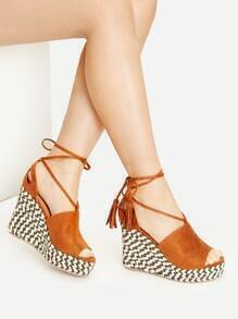 Brown Peep Toe Lace Up Wedge Sandals