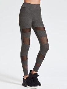 Leggings con aplicación de malla - gris