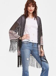 Black Floral Striped Knotted Fringe Trim Sheer Kimono