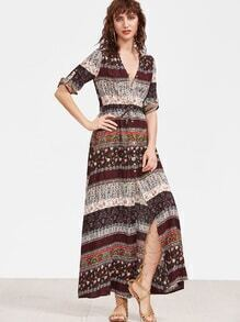 Multicolor Ornate Print Button Up Drawstring Waist Dress