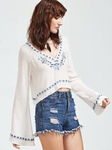 White Bell Sleeve Embroidered Crepe Crop Top