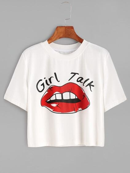 White Red Lip Print Crop T-shirt