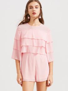 Pink 3/4 Sleeve Layered Ruffle Romper