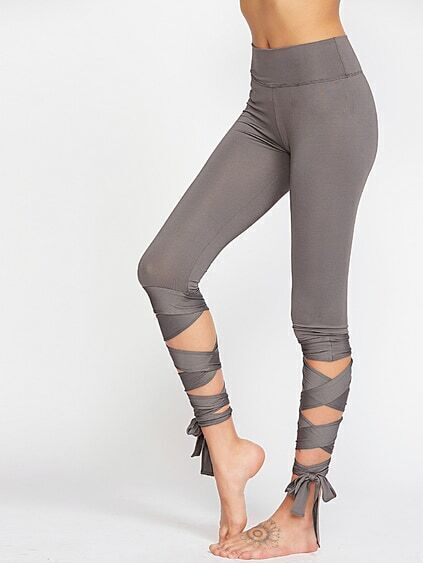 Grey Wide Waistband Wrap Hem Leggings