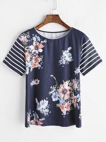 T-shirt à manches rayées imprimé floral marine