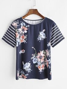 Navy Floral Print Striped Sleeve T-shirt