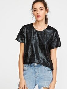 Black Coated Mesh Back High Low T-shirt