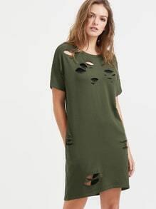 Vestido roto de manga corta - oliva
