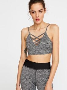 Grey Marled Knit Crisscross Neck Sports Bra