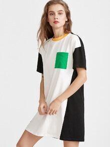 Color Block Pocket Front Short Sleeve Tee Dress