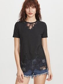 Black Floral Lace Insert Embroidered Edge Sid Slit T-shirt