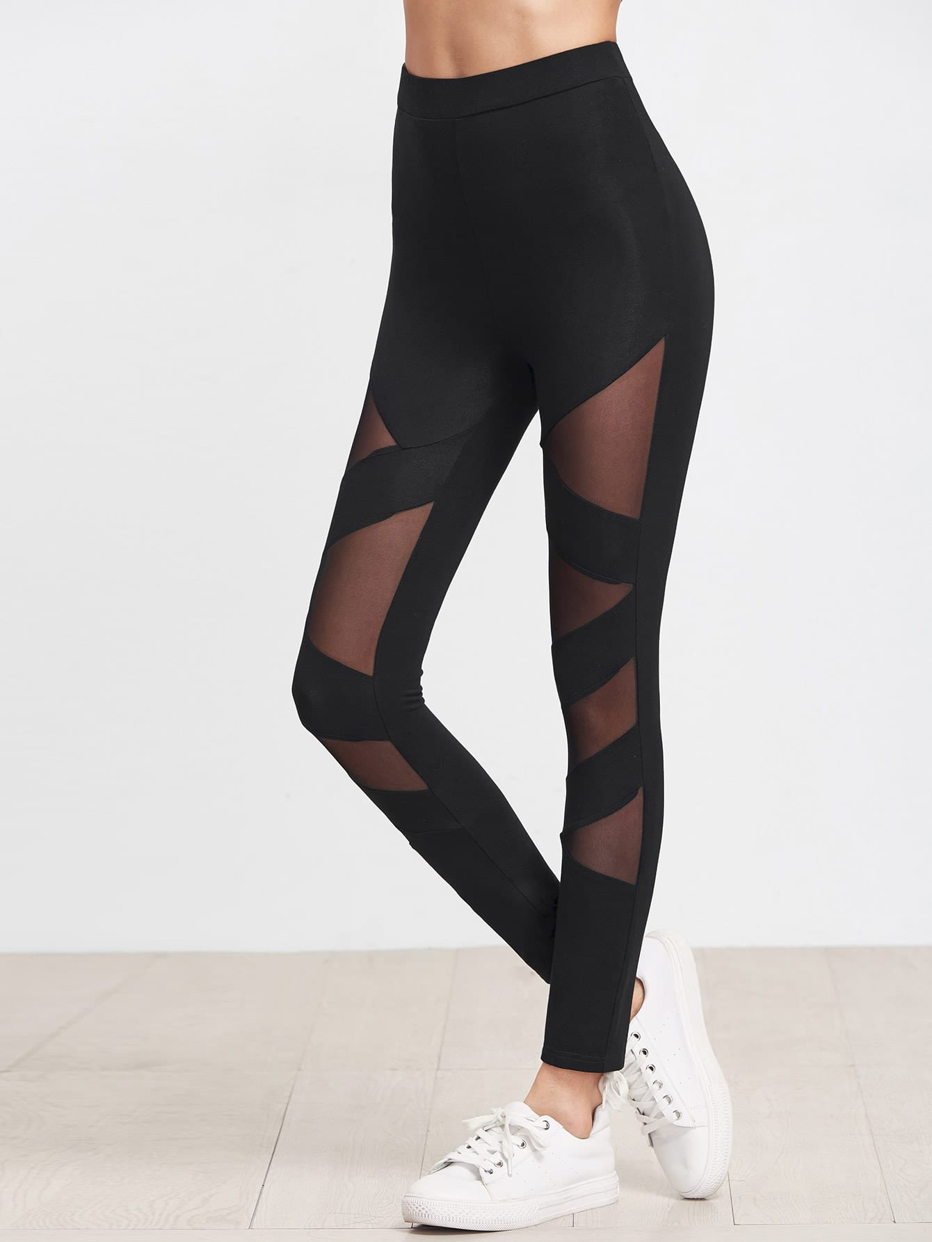 Black Mesh Insert Striped Leggings