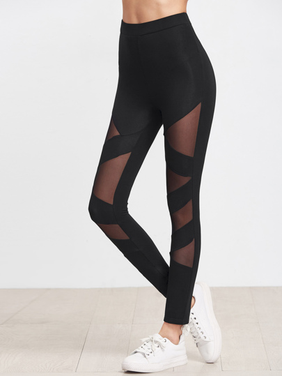 Black Mesh Insert Striped Leggings