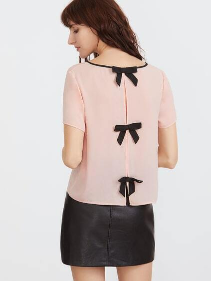 Pink Contrast Binding V Neck Split Bow Back Top