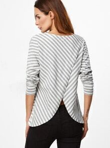 Grey And White Striped Pocket Front Split Back T-shirt