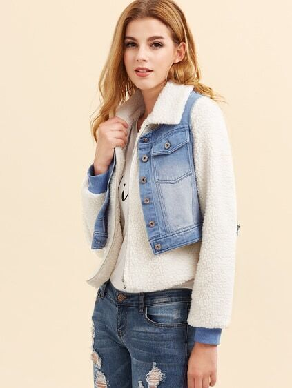 White Fluffy Fleece Jacket With Bleached Denim Vest