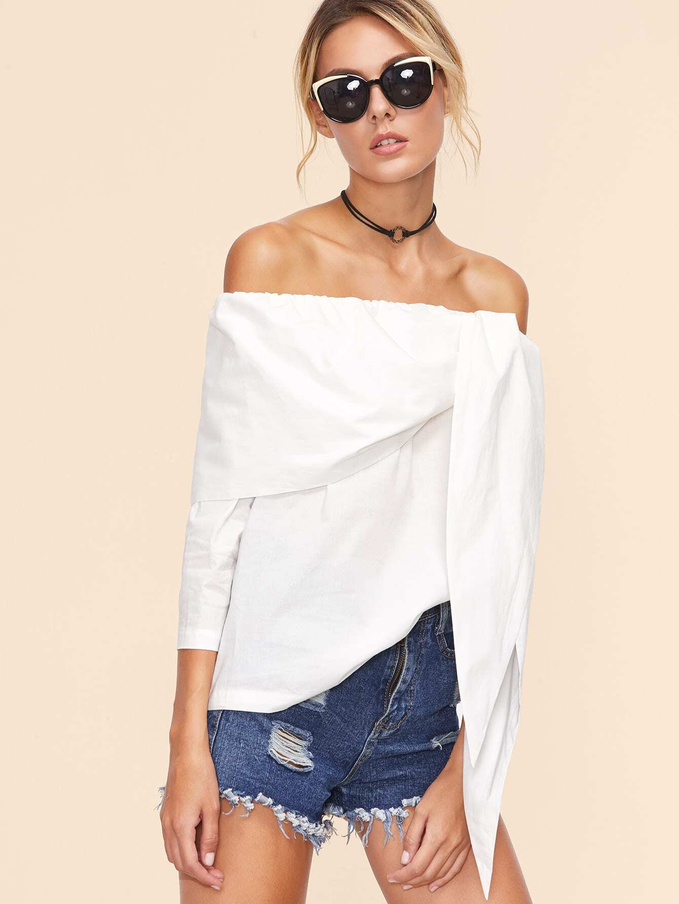 White Off The Shoulder Tunic Top blouse161020701