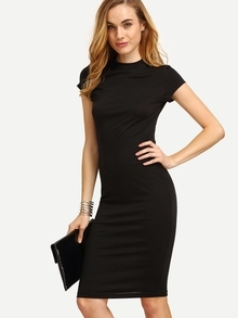 Black Cap Sleeve Crew Neck Sheath Dress