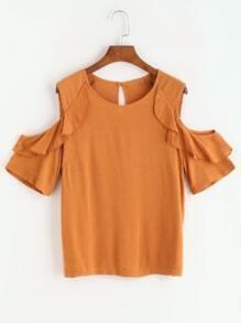Blusa con hombros abiertos de mangas con volantes de espalda con abertura