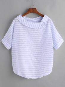 Blusa de rayas con bajo redondeado - azul