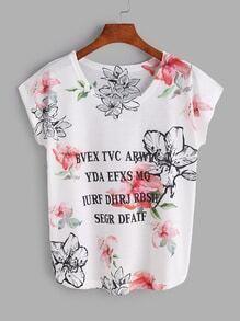 T-Shirt mit Blumen&Buchstabe Muster und Fledermauärmeln - weiß