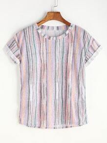 Multicolor Printed Cuffed T-shirt