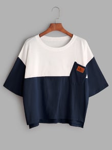 Color Block Dip Hem T-shirt With Chest Pocket