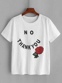 Camiseta con estampado de flor y letra - blanco