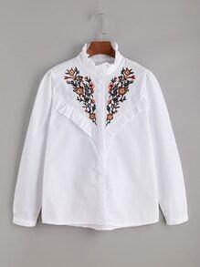 Bluse mit Stickereien und Rüschen-Umrandung - Weiß