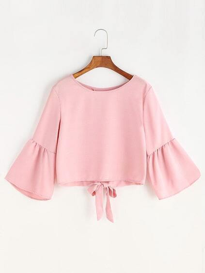 Pink Bell Sleeve Bow Tie Overlap Back Blouse