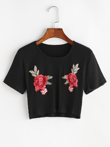 Black Flower Embroidered Ribbed Knitted Crop T-shirt