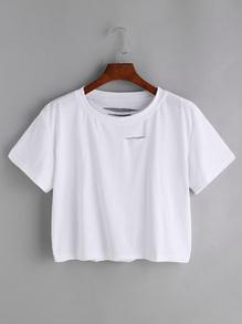 T-shirt mit Loch - Weiß