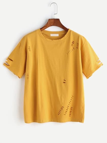 Yellow Ripped Short Sleeve T-shirt