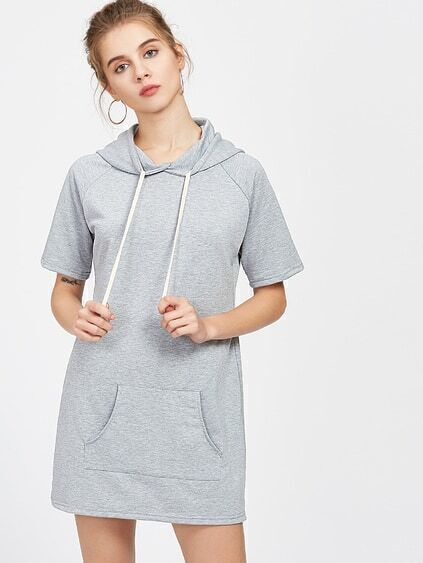 Heather Grey Hooded Raglan Sleeve Tee Dress