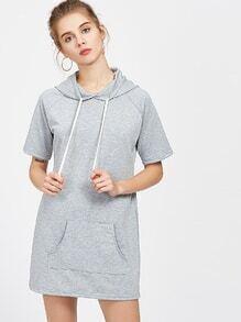 Heather Grey Hooded Raglan Ärmel T-Shirt Kleid