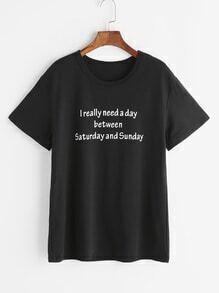 Camiseta con estampado de slogan - negro