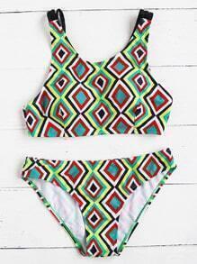 Set bikini para la playa con estampado geométrico