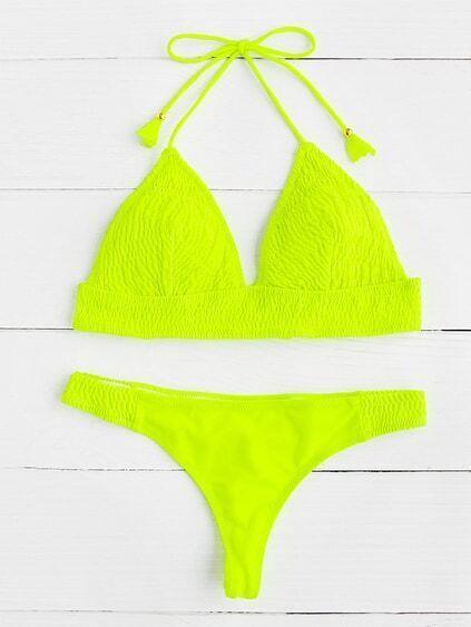 Neon Yellow Crinkle Design Triangle Bikini Set